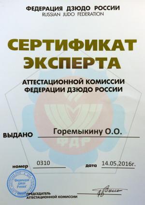 Сертификат эксперта аттестационной комиссии федерации дзюдо России